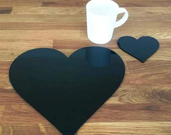 Heart Shaped Placemats or Placemats & Coasters - in Black Gloss Finish Acrylic 3mm