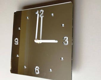 Rounded Corner Square Silver Mirror & White Clock - White Acrylic Back, Mirror Finish Acrylic with White hands, Silent Sweep Movement