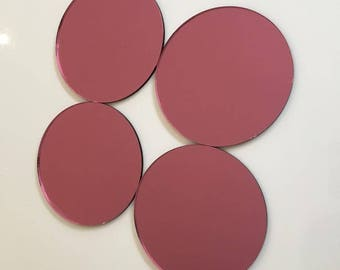 """Pink Mirrored Acrylic Circles Crafting Mosaic & Wall Tiles, Sizes: 1cm to 20cm - 1"""" to 7.9"""""""