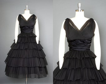 Vintage 50s RAPPÍ Black Pleated Organza Party Dress | 1950s Open Back Cupcake Evening Gown (small)