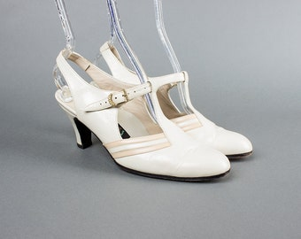 Vintage 1930s Style Shoes   1980s Leather T-Strap Slingback Cream Flapper Heels (womens 8)