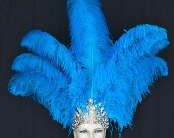 Ostrich Feather Headdress Showgirl Samba Carnival .