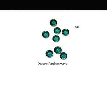 100 Teal Edible Jewel Diamond Gems Cake Decoration  0.6 cm width  Wedding Anniversary Birthday Baby Clear Teal Custom Colors