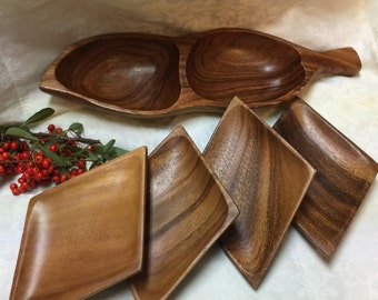 5 Piece Set of Vintage Monkey Pod ~ 1 Bowl and 4 Side Dishes/Serving Bowls ~ Hand Crafted in the Philippines ~ Mid Century