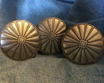 """Set of 3 Silver Concho Buttons - 1& 1/2"""""""