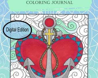 "Digital Edition Cross My Heart Christian Coloring Journal for adult coloring and writing 8.25""x6"""