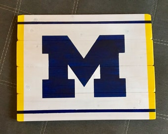 University of Michigan hand painted reclaimed wood sign.