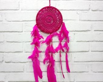 Free Shipping/Fuchsia Crochet Native American Legend Dream Catcher-One Oversize Dream Catcher-7 inch -Indian Symbols