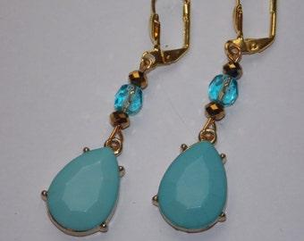 Aqua Blue Teardrop Dangle Earrings