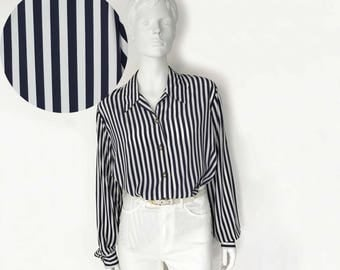The Fancy Mariner Vintage 80s Blouse Shirt Top Navy White Nautical Stripe Silky Slouchy Long Sleeve Womens Top, O/S