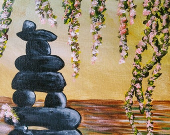 acrylic zen meditation pond (painting with jane)