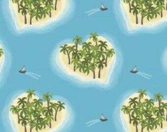 Sky Blue Heart Islands, Island Girl, Lewis & Irene, tropical, summer, fabric by the yard, hula girl, quilting cotton, island princess