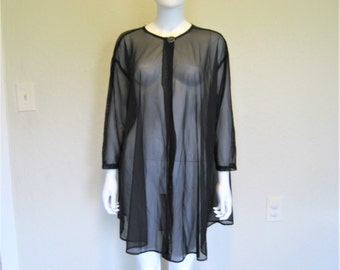 Ovesized Black Mesh Sheer see through Cover up