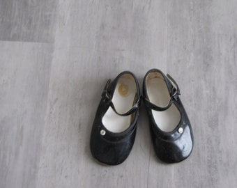 Vintage Black Baby Dress Shoes / Mary Jane's