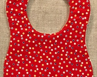Baby Bib in Red Yellow and Blue Dots