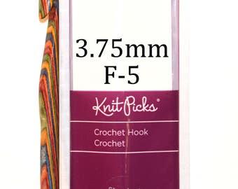 3.75mm F-5 Rainbow Wood Knit Picks Crochet Hook for Crocheting