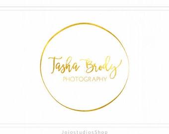 Circle Logo, Gold Foil Logo, Round Logo, Photographers Logo, Circular Logo Design, Gold Logo, Premade Photography Logo Watermark, L107