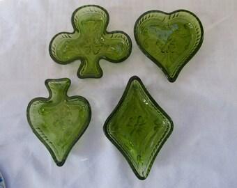 Tiara Glass Card Set in Green: Diamond, Heart, Spade, Club