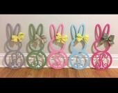 """22"""" Bunny Monogram Door Hanger- 1/4"""" MDF NOT PAINTED / diy / unfinished"""