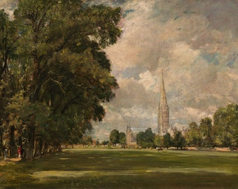 "John Constable : ""Salisbury Cathedral from Lower Marsh Close"" (1820) - Giclee Fine Art Print"