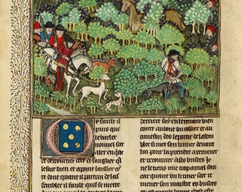 "Illuminated Manuscript Page : ""Hunters Pursuing a Deer"" (Gaston Phébus, Book of the Hunt, 1430-1440) - Giclee Fine Art Print"