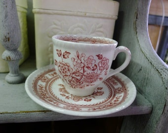 Red transferware demitasse cup and saucer - Dorset pattern