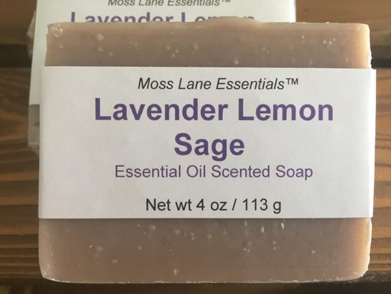 Lavender Lemon Sage Essential Oil Scented Cold Process Soap with Shea Butter