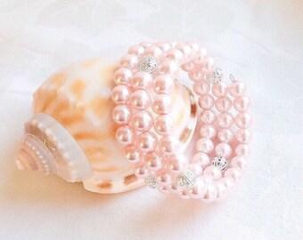 Pink Bracelet, Pink Jewelry, Blush Jewelry, Pink Pearl Bracelet, Bridesmaid Jewelry, Bridesmaid Gift, Wedding