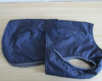 "16"" Navy Waterproof dog coat with chest protection"