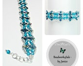 """Aqua Blue and Silver, """"Golden Age"""" Beaded Bracelet, Limited Edition, One-of-a-Kind, Bead Art Jewelry"""