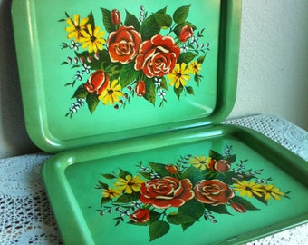 Two Rusty Crusty Green Foral Metal Trays