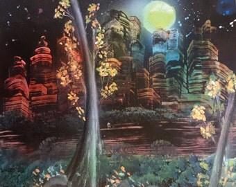 City at Night Spray Paint Art Landscape Speed Painting