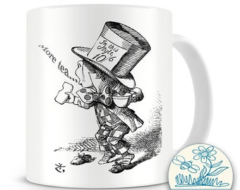 Alice in wonderland -Madhatter illustrated mug - 10oz Mug