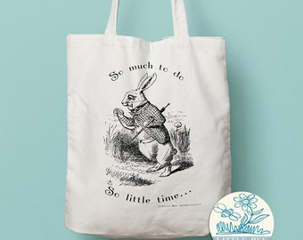 Alice in Wonderland, White Rabbit Tote Bag - Shopping Bag - Cotton Tote -Long-handled tote bag
