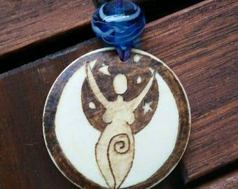 Goddess of the Moon amulet goddess pendant of Moongoddess pagan jewelry Wicca goddess pendant