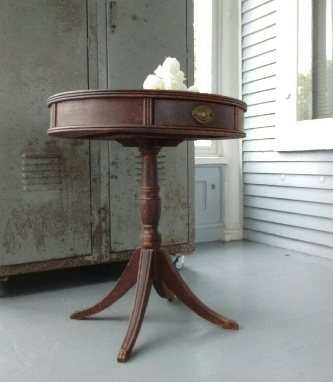 Antique Entrance Table Drum Pedestal End 96