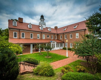 Building at Salem College, in Winston-Salem, North Carolina. | Photo Print, Stretched Canvas, or Metal Print.