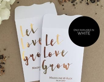10 Wedding Favour Gold Foil White Seed Packet Envelopes Personalised Let Love Grow