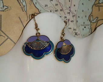 Vintage Laurel Burch earrings, plum blossom