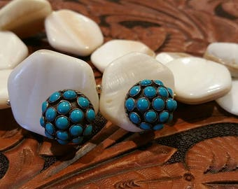 Vintage turquoise and sterling silver screw back earrings