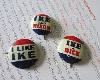 Presidential Buttons IKE & NIXON 1950's Union Made Republican 1956 Election Collectible  Memorabilia