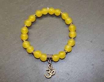 """Zen Yoga style / yellow elastic Bracelet """"Yoga""""."""
