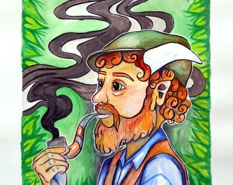 """Original Mixed Media """"A Satyr of Hipster Proportions"""""""