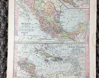 1885 Mexico & West Indies Map [8.7 x 11.0 in.] Rare Vintage map