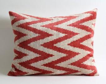 16x20 Ikat Velvet Pillow Cover chevron pillow zigzag pillow sofa throw pillow decorative accessories livingroom decorating bedroom decor