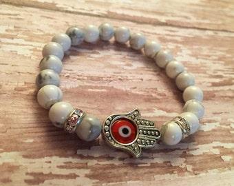 Hamsa, Evil Eye white howlite  beaded bracelet, evil eye jewelry, protection relics, gifts for her