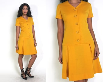 Vintage 60s Mustard Yellow Drop Waist Pleated Skirt Mini Dress Button Front Mod