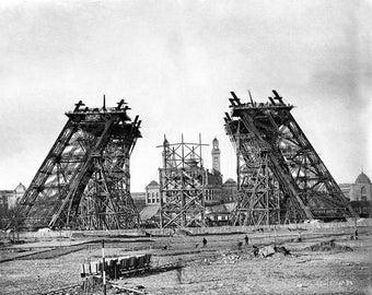 Construction of the Eiffel Tower, Paris, France, 1887, Late 1800's Photograph