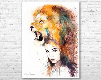 Lion Girl watercolor painting print by Slaveika Aladjova, Fashion Illustration, Woman art, Illustration, watercolour, wall art, home decor