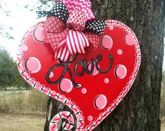Valentine's Heart Door Hanger by ReLoved Treasure, hand painted door hanger